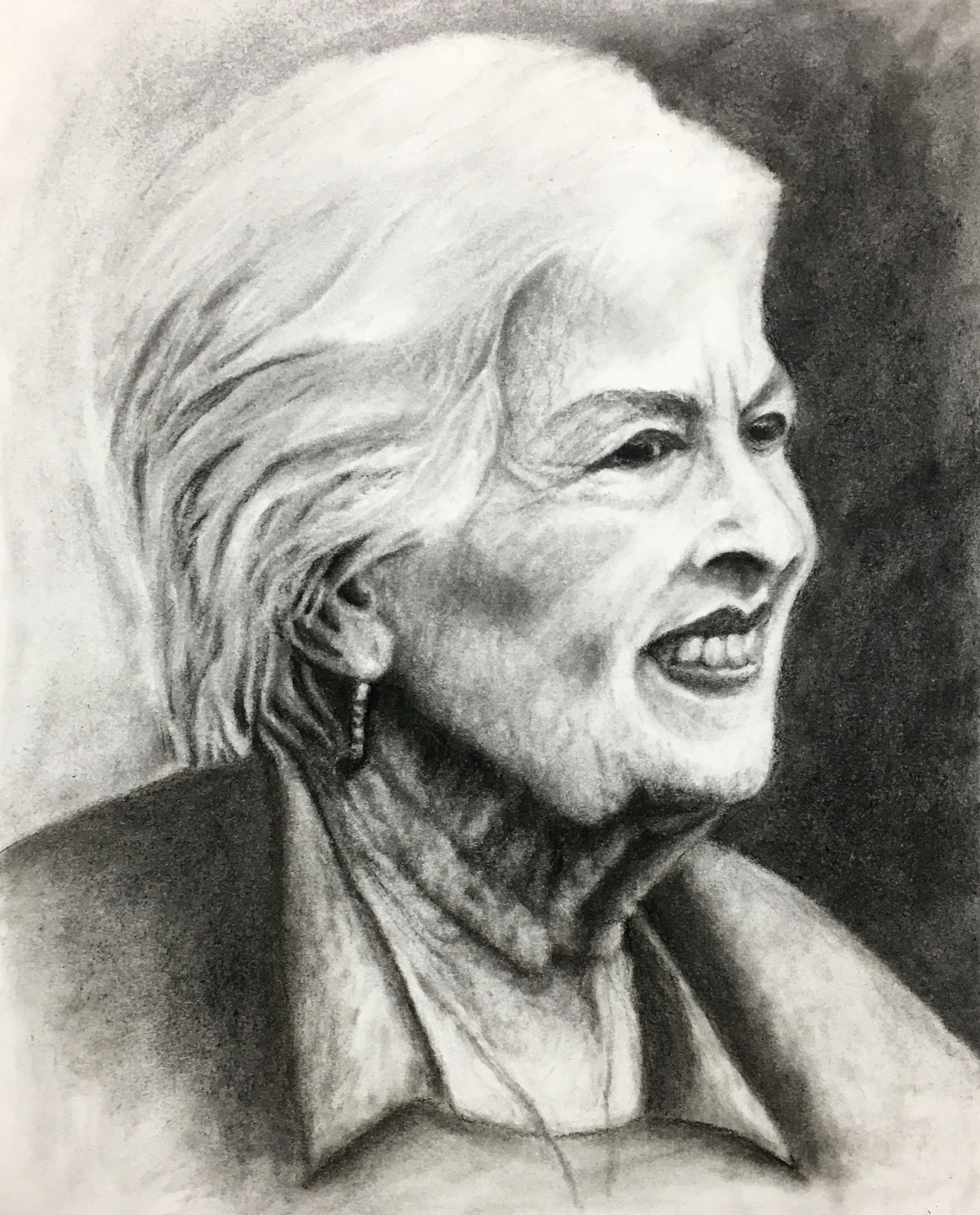 Lady sitting in a park, Mexico, charcoal, Zoe Yin